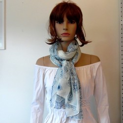 Blue and white rose patterned scarf